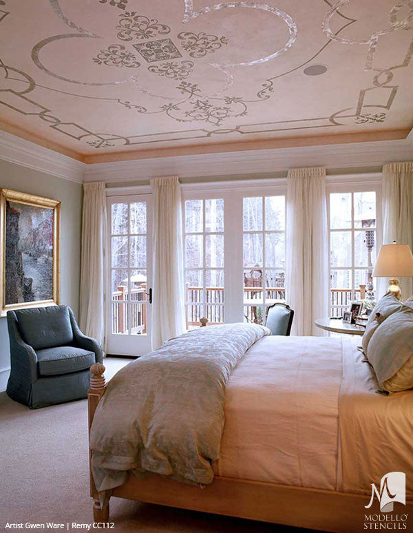 Elegant Grand Ceiling Design Painted with Large Designer Panel Ceiling Stencils - Modello Custom Stencils