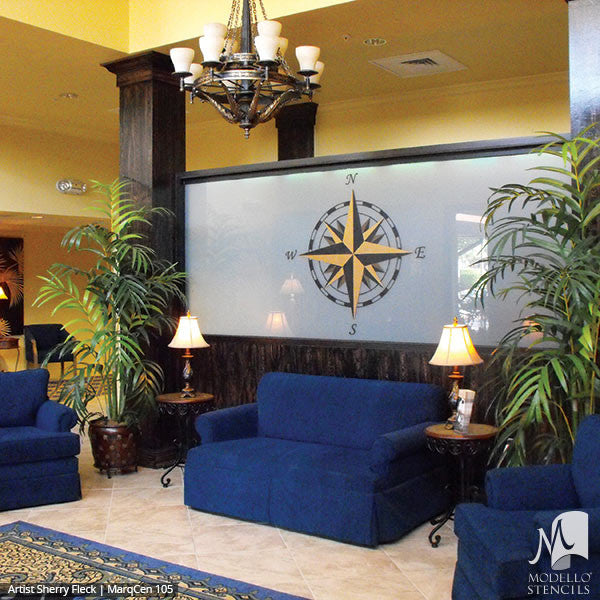 Large Compass Decor Painted and Stenciled on Wall Art Stencils - Modello Custom Stencils