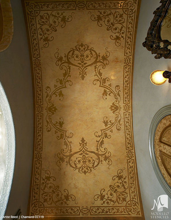 Large Adhesive Patterns Stenciled on Ceiling Decor - Custom Panel Stencils