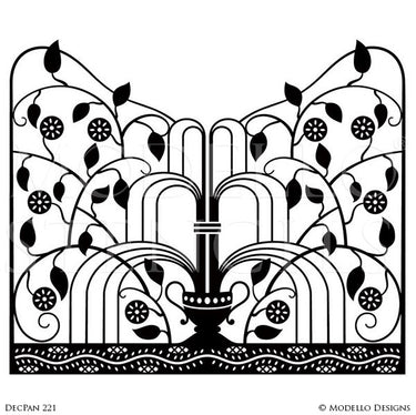 Painting Custom Wall Mural with Professional Designs Details - Art Deco Wall Art Graphics Stencils from Modello Designs