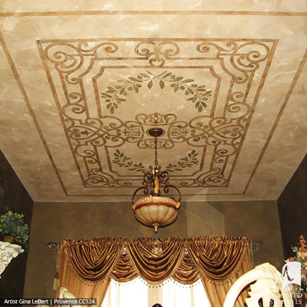 European and Old World Home Decor - Custom Ceilings Panels Stencils for Painting