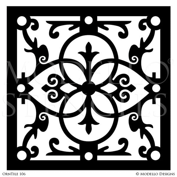 Ornate Designs Painted on Tile Walls and Tile Floors - Modello Custom Stencils