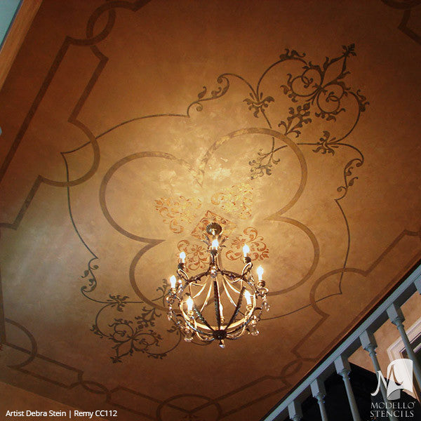 Top 10 Stencil And Painted Rug Ideas For Wood Floors: Painted Faux Carpet & Large Ceiling Panels
