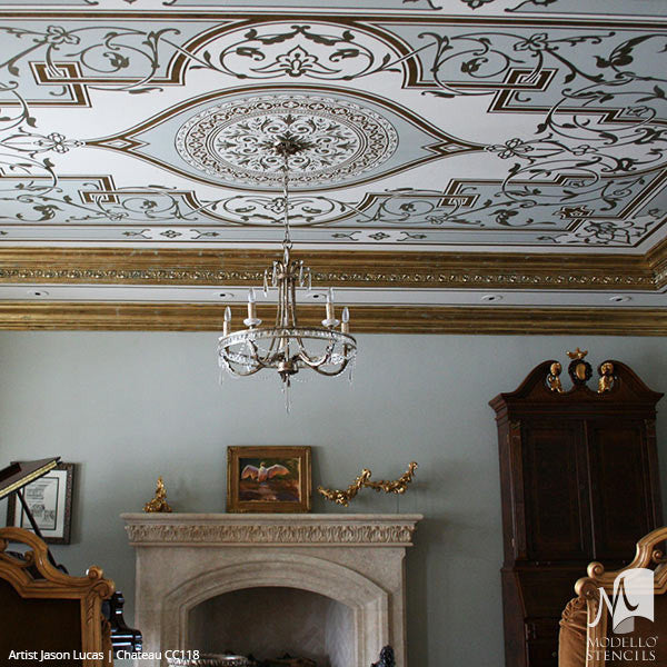 Traditional Ceiling Designs with Large Panel Stencils - Modello Custom Stencils