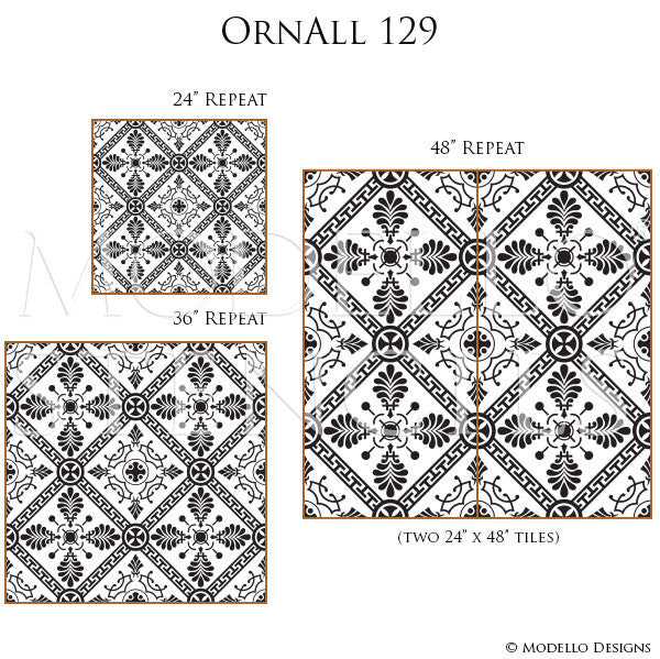Old World and European Design and Decor - Large Wall Mural or Floor Tile Stencils - Modello Custom Stencils