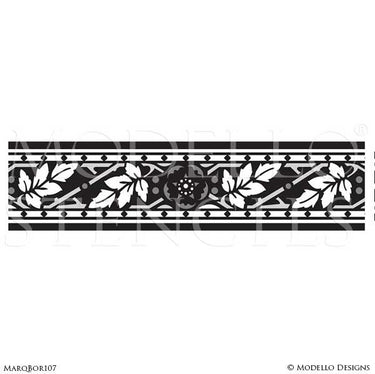 Border Stencils for Painting Hardwood Floor with Classic Designs - Modello Custom Stencils