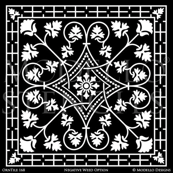Classic and Detailed Tile Designs for Floor Painting and Ceiling Decor - Modello Custom Stencils