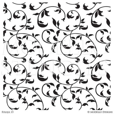 Decorative Leaves Painted Wall Decor - Modello Custom Stencils