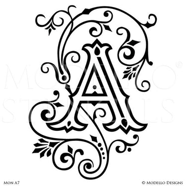 Letter A Peel and Stick Custom Stencils for DIY Painted Monograms - Modello Custom Stencils
