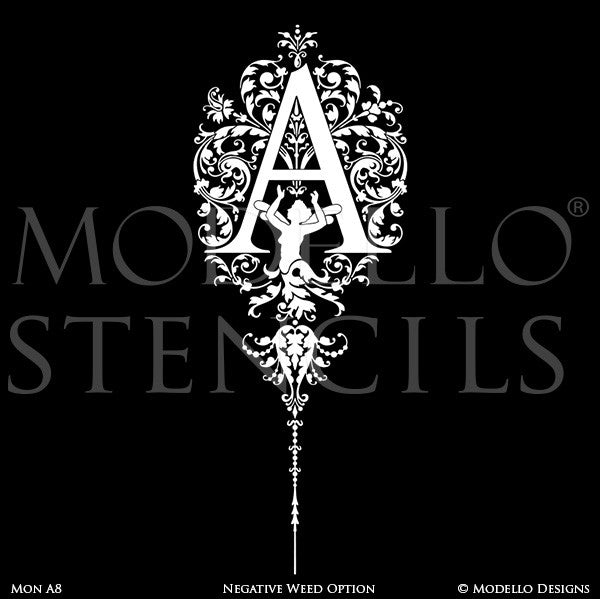 Letter A Ornamental Flourish Wall Mural Stencils & Wall Quotes - Modello Custom Stencils