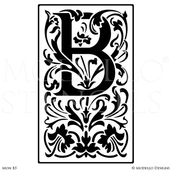 Letter B Decorative Design Painted on Wall Quotes and Lettering - Modello Custom Stencils
