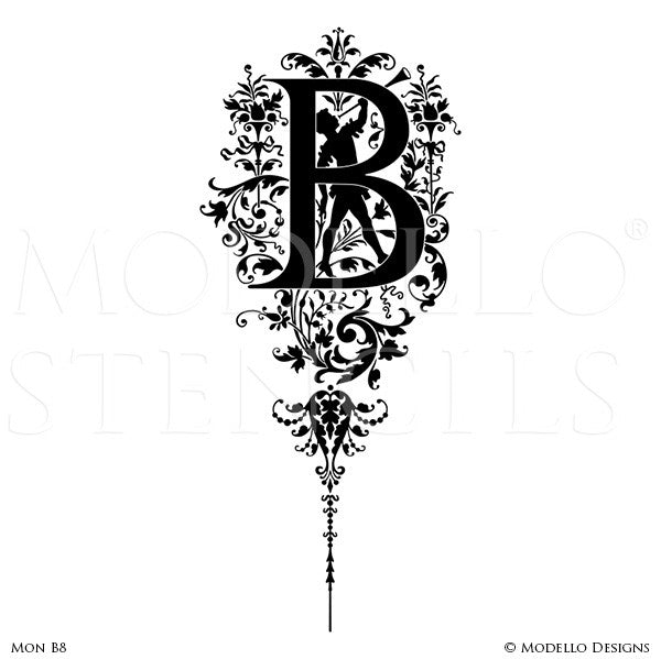 Letter B Ornate Classic Designs Wall Mural Stencils Quotes