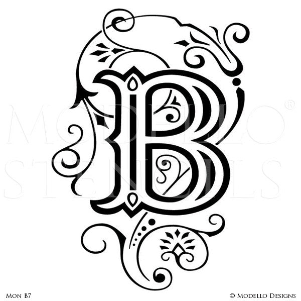 Letter B Painted Lettering Initial Family Name Monogram - Modello Custom Stencils