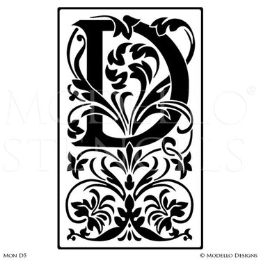 Letter D Lettering Stencils for Decorative Wall Painting Projects - Modello Custom Stencils