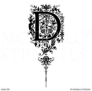 Letter D Script Typography Lettering Stencils for Custom Painted Wall Decor - Modello Custom Stencils