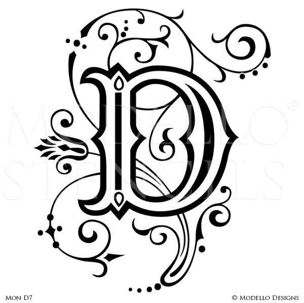 Letter D Custom Adhesive Alphabet Lettering Stencils for Decorative Painting Projects - Modello Custom Stencils