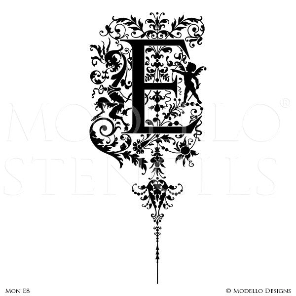 Letter E Ornamental Flourish Wall Mural Stencils & Wall Quotes - Modello Custom Stencils