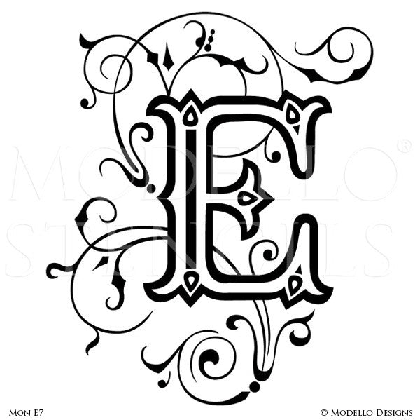 Letter E Decorating Family Name and Initials on Wall with Modello Custom Stencils