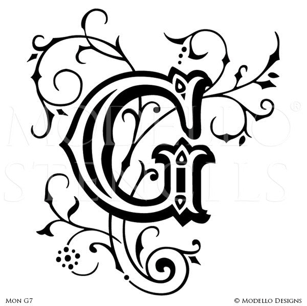 Letter G Decorative Design Painted on Wall Quotes and Lettering - Modello Custom Stencils