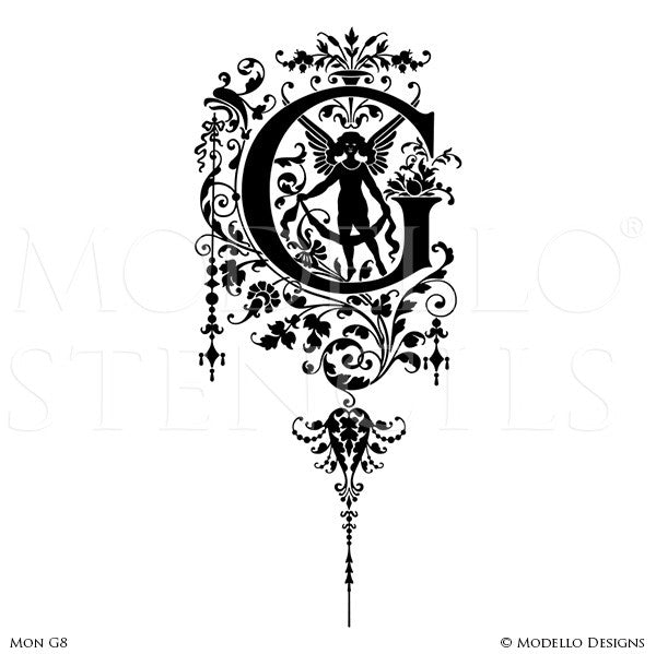 Letter G Custom Painted Classic Designs - Modello Monogram Stencils