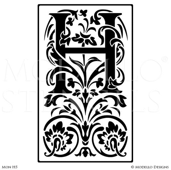 Letter H Professional Decorating and Painting Monogram Designs - Modello Custom Stencils