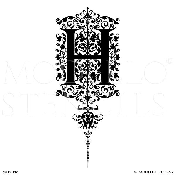 Letter H Alphabet Lettering Stencils for Decorative Painting Projects - Modello Custom Stencils