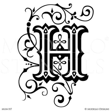 Monogram wall art custom lettering stencils from modello designs letter h lettering stencils for decorative wall painting projects modello custom stencils altavistaventures Choice Image