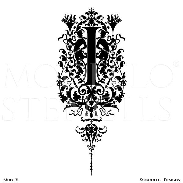 Letter I Painted Lettering Initial Family Name Monogram - Modello Custom Stencils