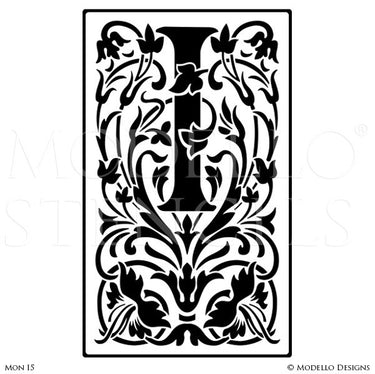 Letter I Monogram Stencils with Ornate Classic Foliage Designs - Modello Custom Stencils