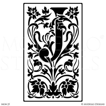 Letter J Floral Wall Mural Stencils & Wall Quotes - Modello Custom Stencils