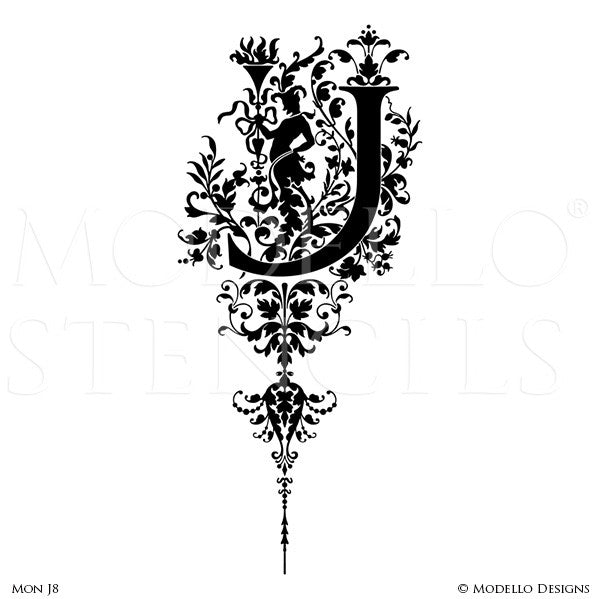 Letter J Ornate Classic Designs Wall Mural Stencils & Wall Quotes - Modello Custom Stencils