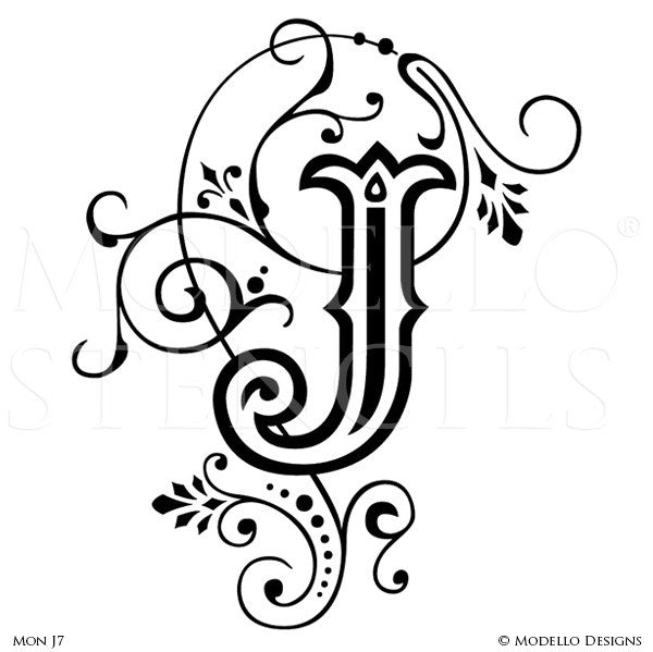 Letter J Script Typography Lettering Stencils For Custom Painted Wall Decor    Modello Custom Stencils