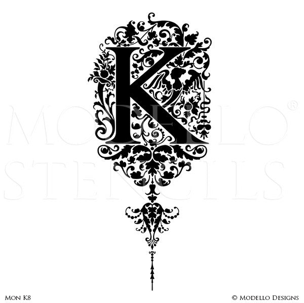 Letter K Custom Adhesive Alphabet Lettering Stencils for Decorative Painting Projects - Modello Custom Stencils