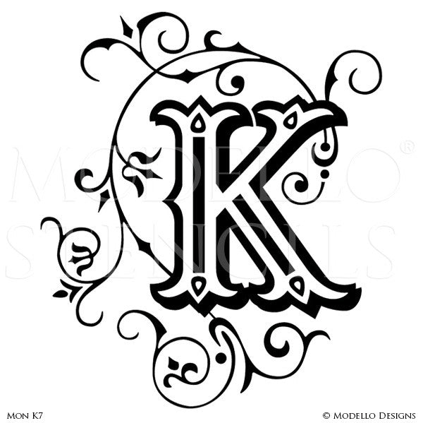 Letter K Alphabet Lettering Stencils for Decorative Painting Projects - Modello Custom Stencils