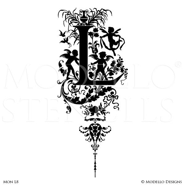 Letter L Decorative Painted Fairy Vines Custom Modello Monogram Stencils