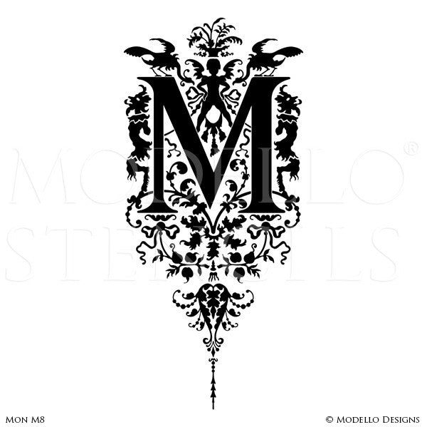 Letter M Script Typography Lettering Stencils for Custom Painted Wall Decor - Modello Custom Stencils