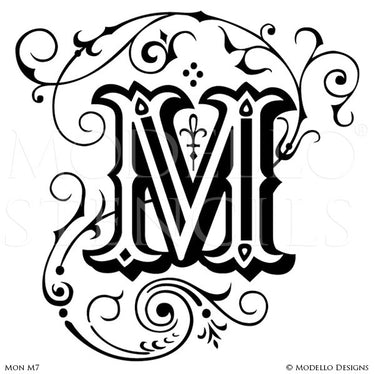 Letter M Classic Monogram Art for Painting - Modello Custom Stencils