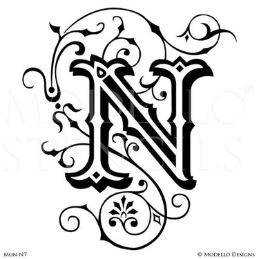 Letter N Professional Decorating and Painting Monogram Designs - Modello Custom Stencils