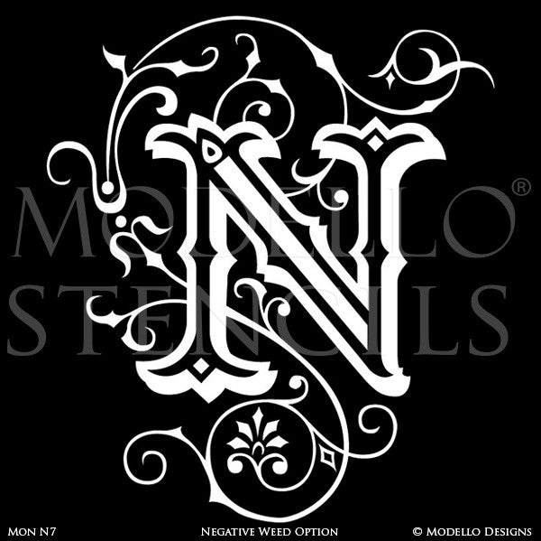 Letter N Custom Adhesive Alphabet Lettering Stencils for Decorative Painting Projects - Modello Custom Stencils