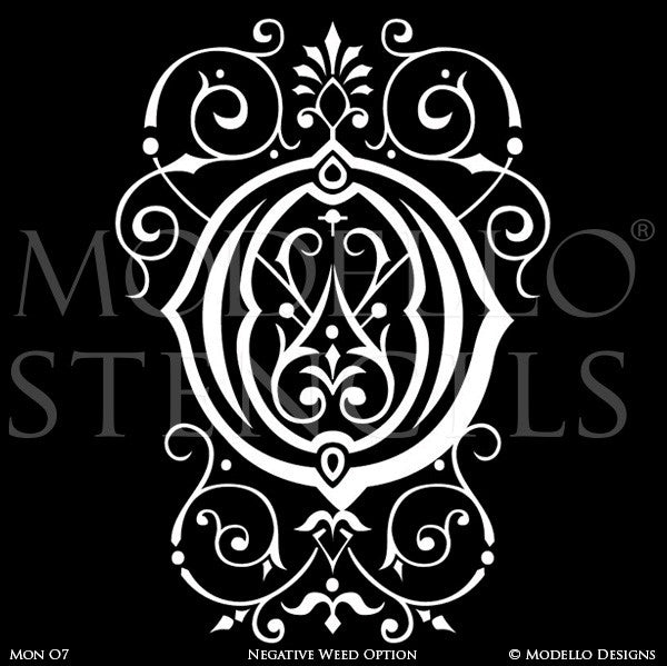 Letter O Peel and Stick Custom Stencils for DIY Painted Monograms - Modello Custom Stencils