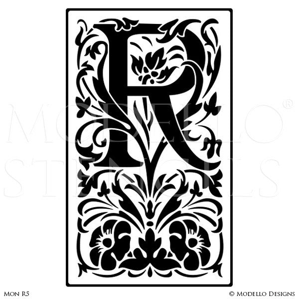 Letter R Monogram Initial Decorative Wall Painting Stencils