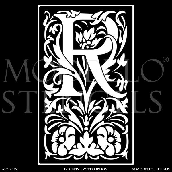 Letter R Monogram Initial Decorative Wall Painting Stencils - Modello Custom Stencils