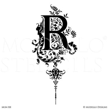 Letter R Custom Adhesive Alphabet Lettering Stencils for Decorative Painting Projects - Modello Custom Stencils