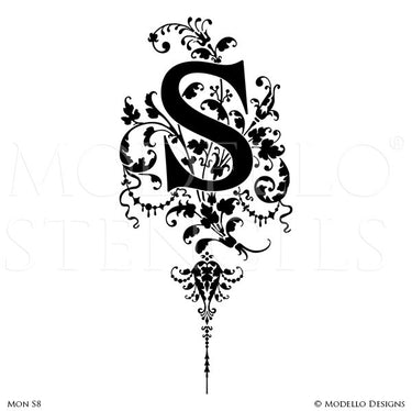Letter S Painted Lettering Initial Family Name Monogram - Modello Custom Stencils