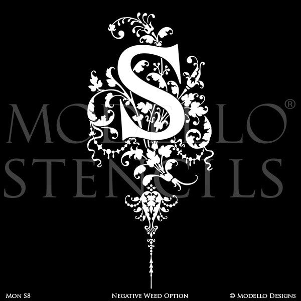 Letter S Decorative Design Painted on Wall Quotes and Lettering - Modello Custom Stencils