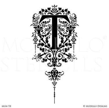 Letter F Large Typography Stencils for Custom Painted Wall Mural - Modello Custom Stencils