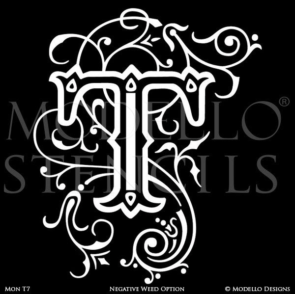Letter T Decorative Monograms Alphabet Stencils for Painting - Modello Custom Stencils
