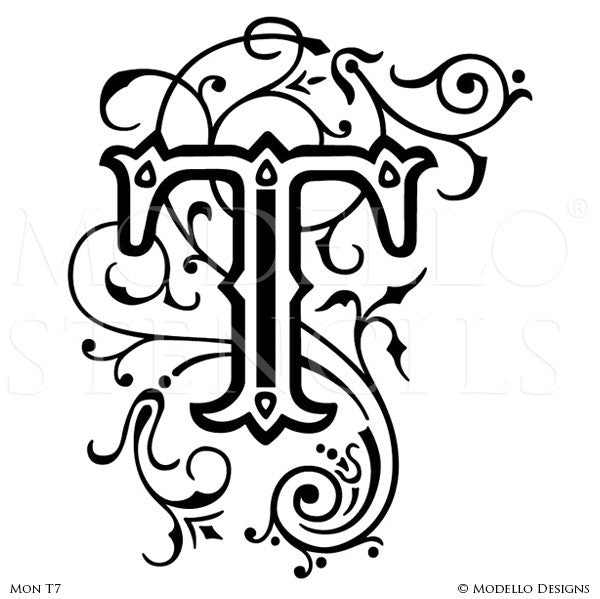 Letter T Custom Alphabet Lettering Wall Art Designs for Classic Decor - Modello Custom Stencils