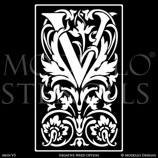 Letter W Floral Wall Mural Stencils & Wall Quotes - Modello Custom Stencils