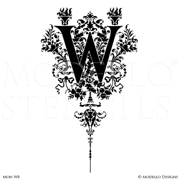Letter W Decorative Script Design Painted on Wall Quotes and Lettering - Modello Custom Stencils